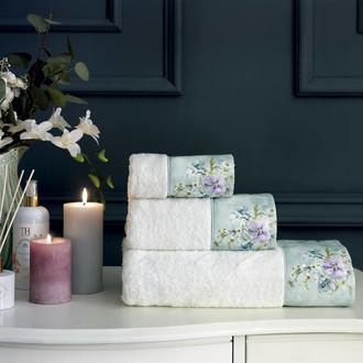 Подарочный набор полотенец для ванной 3 пр. + спрей Tivolyo Home ORNELIA хлопковая махра кремовый