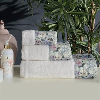 Подарочный набор полотенец для ванной 3 пр. + спрей Tivolyo Home CAVA хлопковая махра кремовый