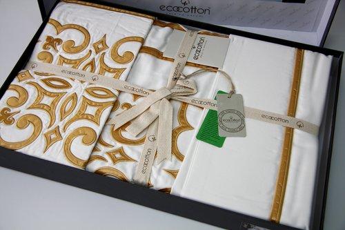 Постельное белье Ecocotton VERA органический хлопковый сатин делюкс кремовый евро-макси, фото, фотография