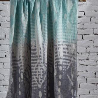Пештемаль пляжное полотенце, палантин Ecocotton IKAT органический хлопок бирюзовый