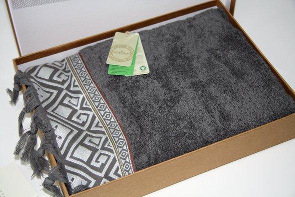 Полотенце для ванной в подарочной упаковке Ecocotton ASYA органический хлопок антрацит 50*90, фото, фотография