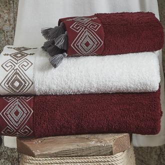 Полотенце для ванной в подарочной упаковке Ecocotton HAZAL органический хлопок бордовый