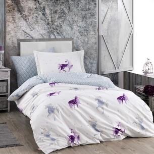 Детское подростковое постельне белье Hobby Home Collection MIA хлопковый поплин фиолетовый 1,5 спальный