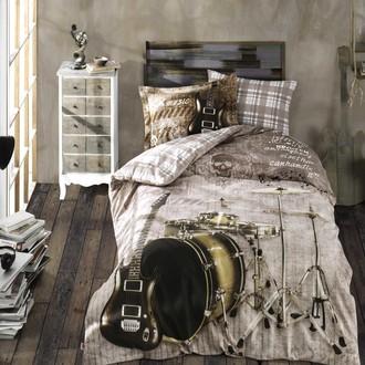 Детское (подростковое) постельне белье Hobby Home Collection ROCK MUSIC хлопковый поплин (коричневый)