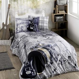 Детское (подростковое) постельне белье Hobby Home Collection ROCK MUSIC хлопковый поплин (серый)