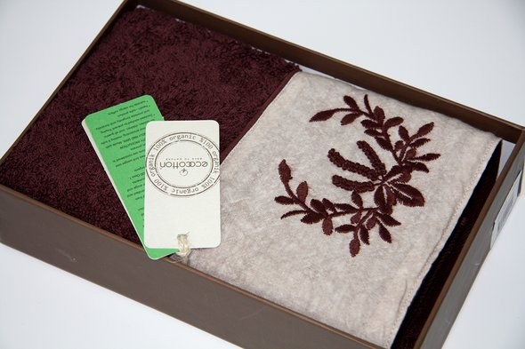 Полотенце для ванной в подарочной упаковке Ecocotton PIETRA органический хлопок коричневый 80*150, фото, фотография