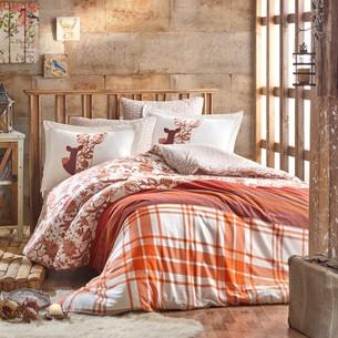 Постельное белье Hobby Home Collection VALENTINA хлопковая фланель коричневый 1,5 спальный