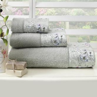 Подарочный набор полотенец для ванной 3 пр. + спрей Tivolyo Home NARCISSA хлопковая махра (кремовый)