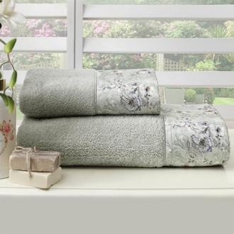 Подарочный набор полотенец для ванной 2 пр. Tivolyo Home NARCISSA хлопковая махра (кремовый)