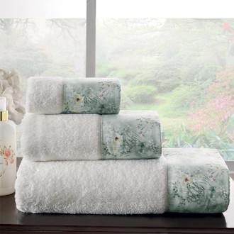 Подарочный набор полотенец для ванной 3 пр. + спрей Tivolyo Home POLINA хлопковая махра (кремовый)
