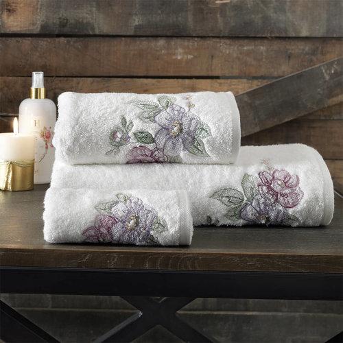 Подарочный набор полотенец для ванной 3 пр. + спрей Tivolyo Home SENNA хлопковая махра кремовый, фото, фотография
