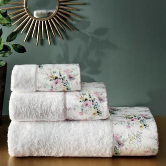 Подарочный набор полотенец для ванной 3 пр. + спрей Tivolyo Home FINOLA хлопковая махра (кремовый)