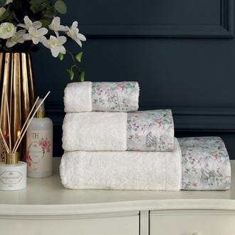 Подарочный набор полотенец для ванной 3 пр. + спрей Tivolyo Home ADORIA хлопковая махра (кремовый)