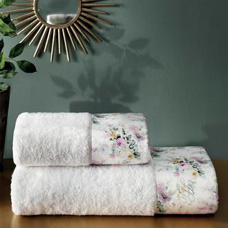 Подарочный набор полотенец для ванной 2 пр. Tivolyo Home FINOLA хлопковая махра (кремовый)