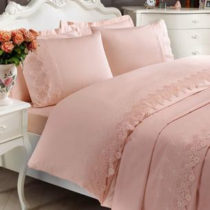 Постельное белье Tivolyo Home ALIANZ хлопковый сатин делюкс розовый евро