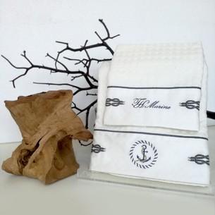 Подарочный набор полотенец для ванной 2 пр. Tivoyo Home ANCHOR хлопковая вафля кремовый