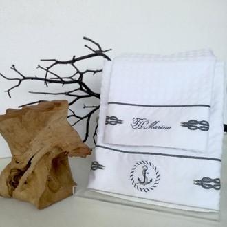 Подарочный набор полотенец для ванной 2 пр. Tivoyo Home ANCHOR хлопковая вафля (белый)