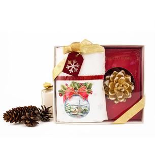 Подарочный набор из полотенца и свечи Tivolyo Home SNOWBALL VELVET хлопковая махра