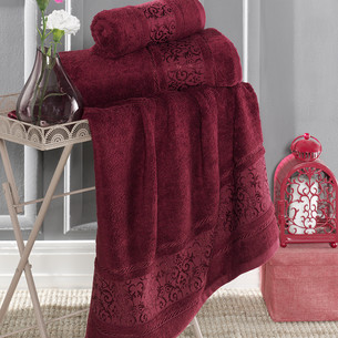 Полотенце для ванной Karna ARMOND бамбуковая махра бордовый 70х140