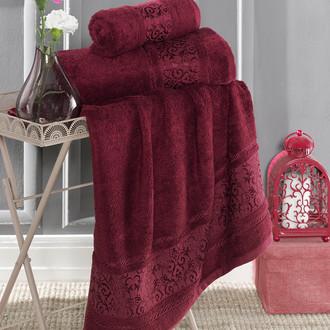 Полотенце для ванной Karna ARMOND бамбуковая махра бордовый