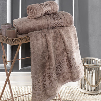 Полотенце для ванной Karna ARMOND бамбуковая махра капучино