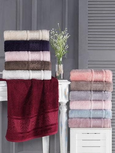 Полотенце для ванной Karna ARMOND бамбуковая махра бордовый 70х140, фото, фотография