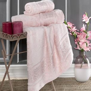 Полотенце для ванной Karna ARMOND бамбуковая махра пудра 70х140