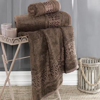 Полотенце для ванной Karna ARMOND бамбуковая махра коричневый