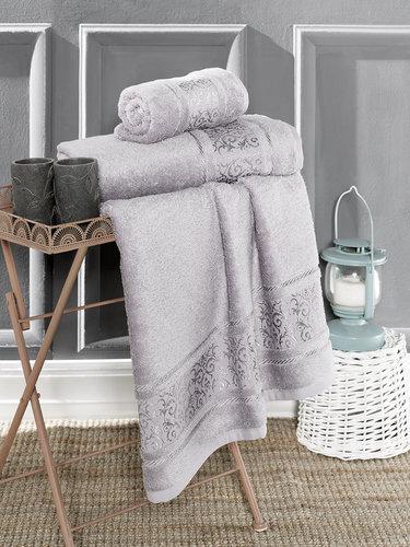 Полотенце для ванной Karna ARMOND бамбуковая махра серый 70х140, фото, фотография