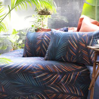 Комплект постельного белья Issimo Home SATIN PHUKET хлопковый сатин делюкс синий, терракотовый