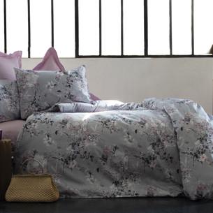 Постельное белье Issimo Home SATIN POETICA хлопковый сатин делюкс лиловый, серый евро
