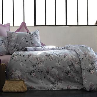 Комплект постельного белья Issimo Home SATIN POETICA хлопковый сатин делюкс лиловый, серый