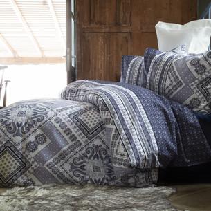 Постельное белье Issimo Home RANFORCE SORAYA хлопковый ранфорс синий, серый 1,5 спальный