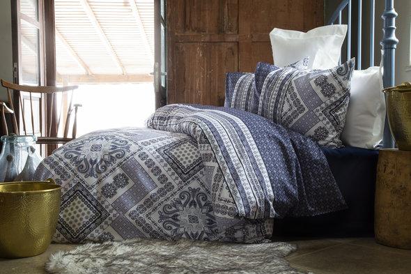 Комплект постельного белья Issimo Home RANFORCE SORAYA хлопковый ранфорс (синий, серый) 1,5 спальный, фото, фотография