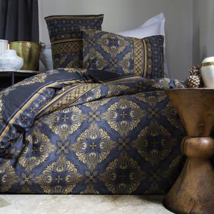 Постельное белье Issimo Home RANFORCE TEODORA хлопковый ранфорс синий, золотистый семейный