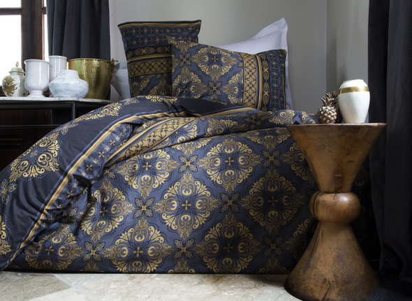 Комплект постельного белья Issimo Home RANFORCE TEODORA хлопковый ранфорс (синий, золотистый) семейный, фото, фотография