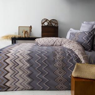 Постельное белье Issimo Home RANFORCE HESSEL хлопковый ранфорс серый, бежевый 1,5 спальный