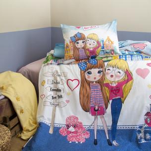 Комплект подросткового постельного белья Issimo Home RANFORCE BESTIE хлопковый ранфорс голубой 1,5 спальный
