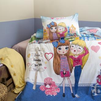 Комплект подросткового постельного белья Issimo Home RANFORCE BESTIE хлопковый ранфорс (голубой)