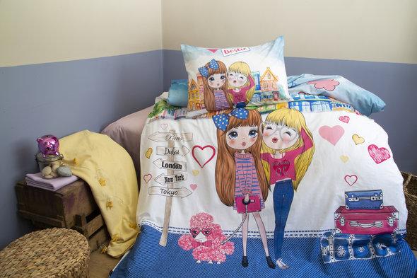 Комплект подросткового постельного белья Issimo Home RANFORCE BESTIE хлопковый ранфорс (голубой) 1,5 спальный, фото, фотография