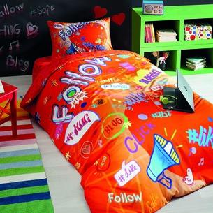 Комплект подросткового постельного белья TAC BLOGGER хлопковый ранфорс оранжевый 1,5 спальный