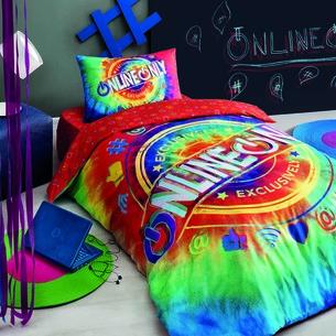 Комплект подросткового постельного белья TAC ONLINE хлопковый ранфорс красный 1,5 спальный