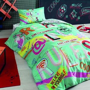 Комплект подросткового постельного белья TAC HASHTAG хлопковый ранфорс бирюзовый 1,5 спальный