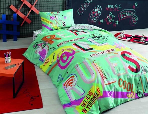Комплект подросткового постельного белья TAC HASHTAG хлопковый ранфорс бирюзовый 1,5 спальный, фото, фотография