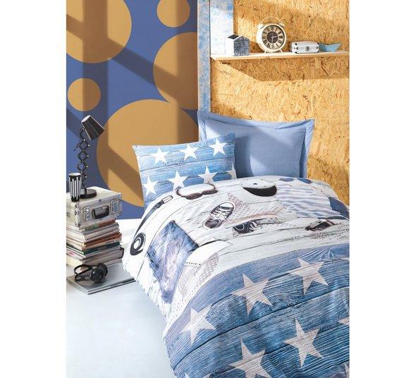Постельное белье детское Cotton Box MODUS хлопковый ранфорс (голубой) 1,5 спальный, фото, фотография