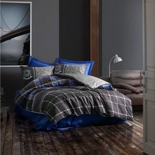 Постельное белье Cotton Box MASCULINE ROBERTO хлопковый ранфорс серый, синий евро