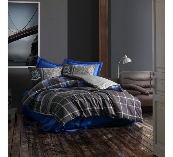 Постельное белье Cotton Box MASCULINE ROBERTO хлопковый ранфорс (серый, синий) евро, фото, фотография