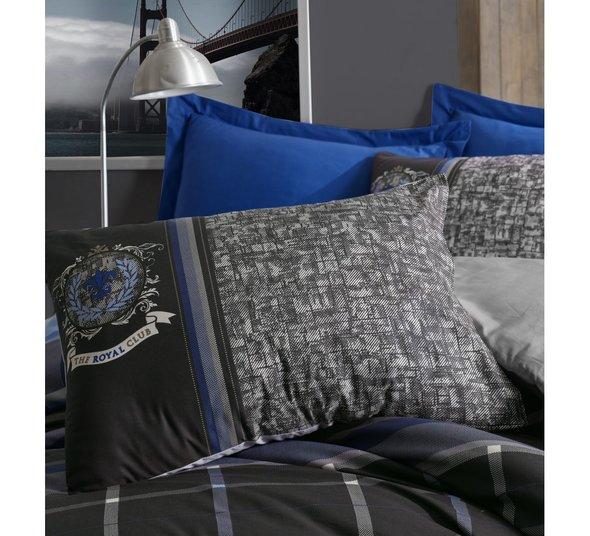 Постельное белье Cotton Box MASCULINE ROBERTO хлопковый ранфорс серый, синий евро, фото, фотография