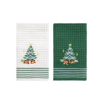Подарочный набор полотенец для кухни 40*60(2) Karna HAPPY хлопковая вафля (V10)
