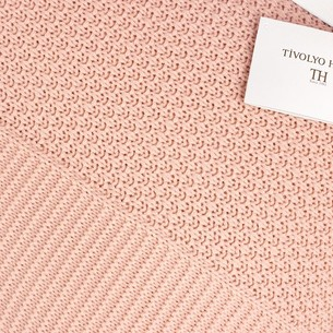 Вязаный плед-покрывало Tivolyo Home SERA розовый 180х240